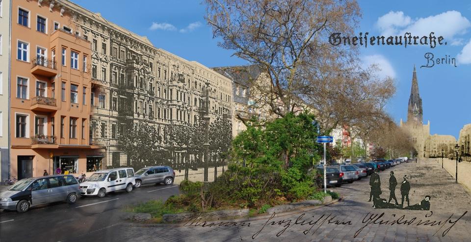 Gneisenaustraße Berlin vor 100 Jahren Montage alt und neu