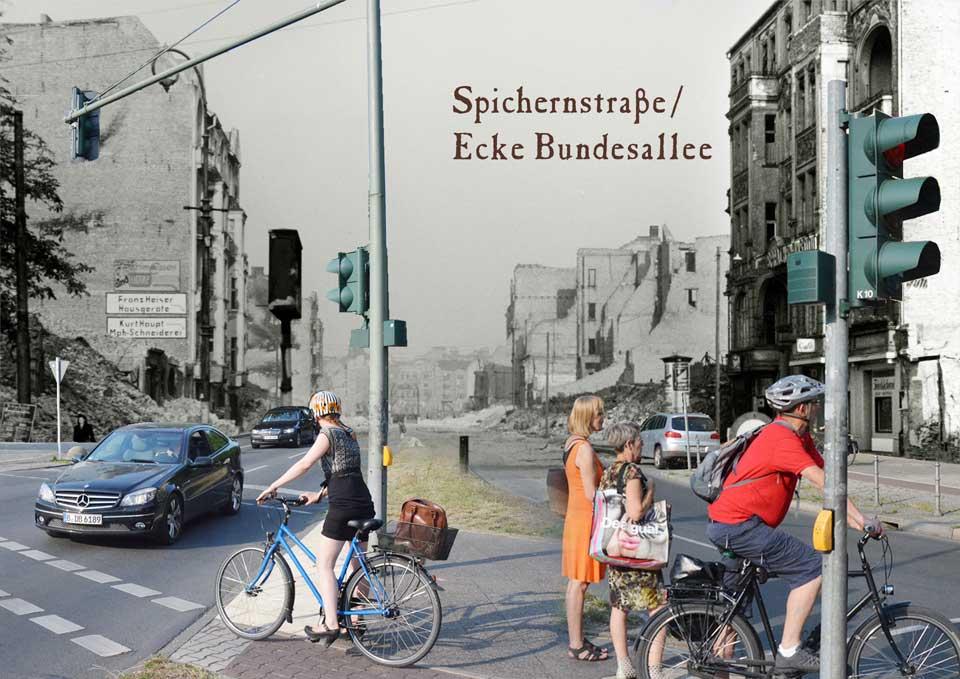 Berlin Spichernstrasse Bundesallee 1945 2015 Zeitreise
