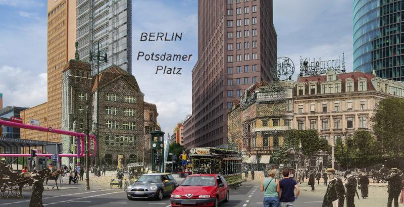 potsdamer platz berlin vor 100 jahren montage alt und neu gruss aus berlin. Black Bedroom Furniture Sets. Home Design Ideas